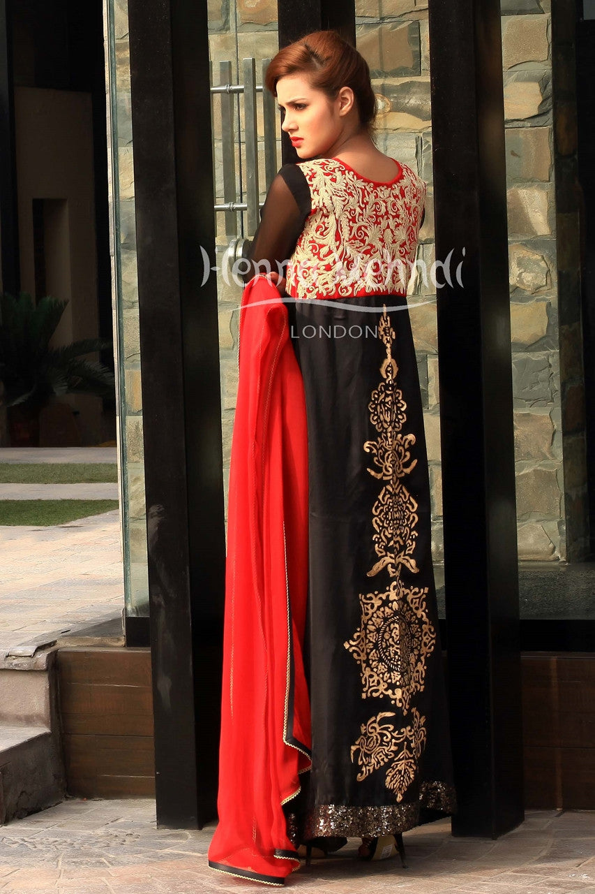 Black chiffon front open style embroidered outfit.
