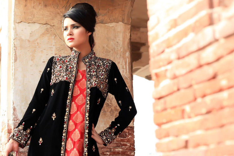 Black Diamante Embroidered Gown outfit