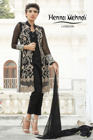 Black Diamante Embroidered Jacket Outfit