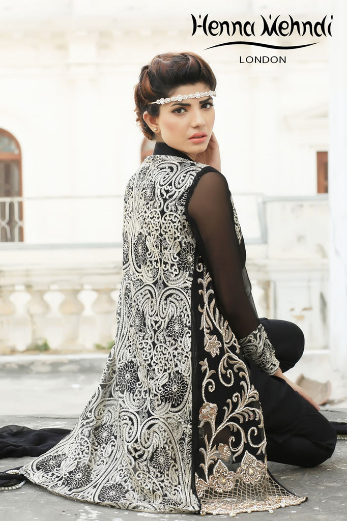 Black Diamante Embroidered Jacket Outfit - Henna Mehndi
