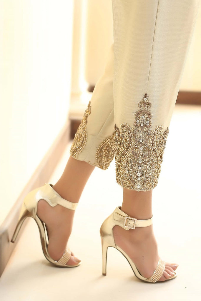 Gold Diamante Embroidered Trousers - Henna Mehndi