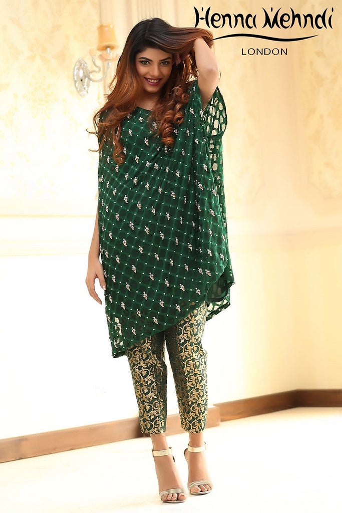 Green Diamante Embroidered Cape Outfit - Henna Mehndi