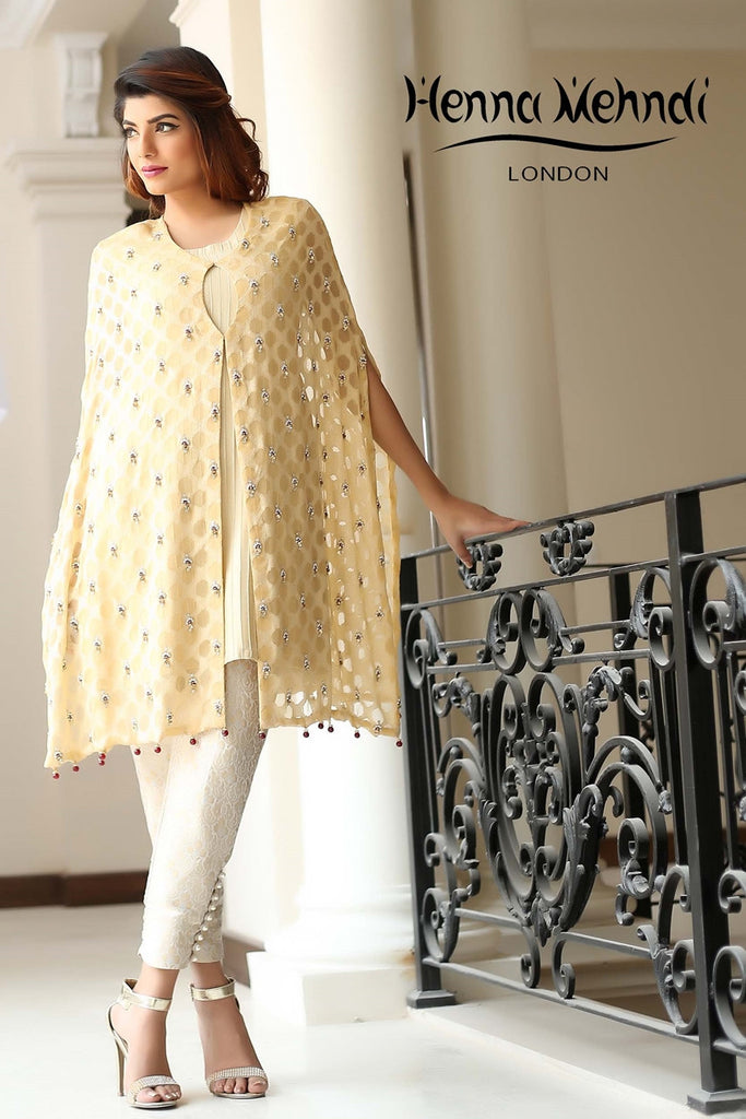Gold Diamante Embroidered Cape Outfit - Henna Mehndi