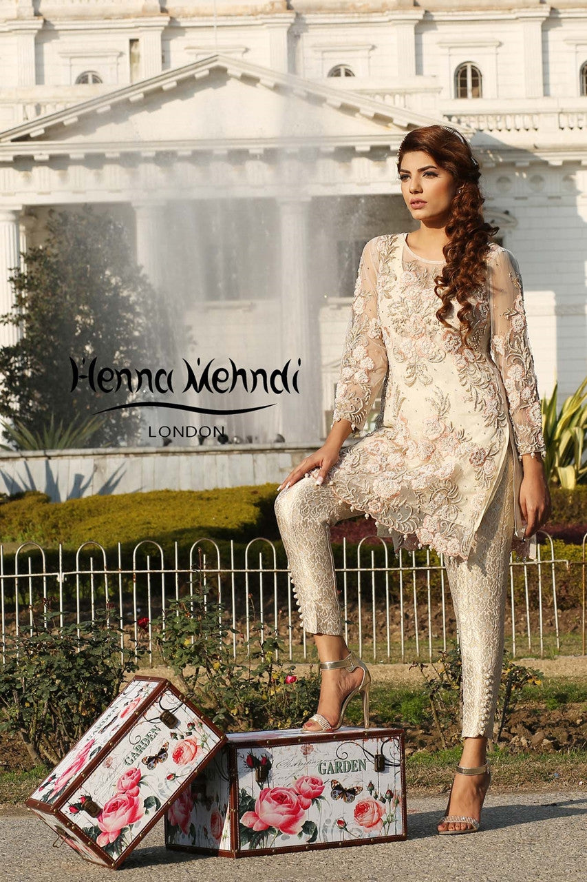 White Net Pearl Embroidered Outfit