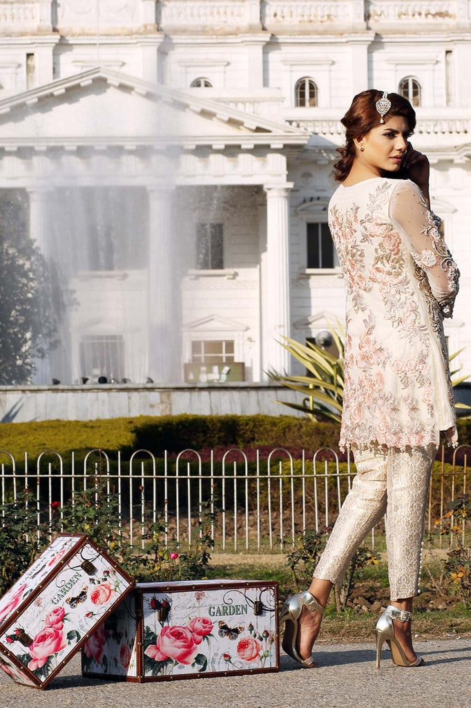 Ivory Net Pearl Embroidered Outfit - Henna Mehndi