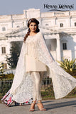 Cream Net Embroidered Cape Outfit - Henna Mehndi