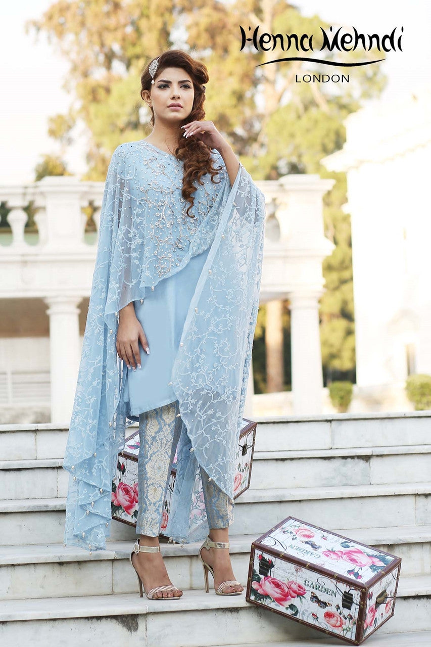 Blue Net Embroidered Cape Outfit