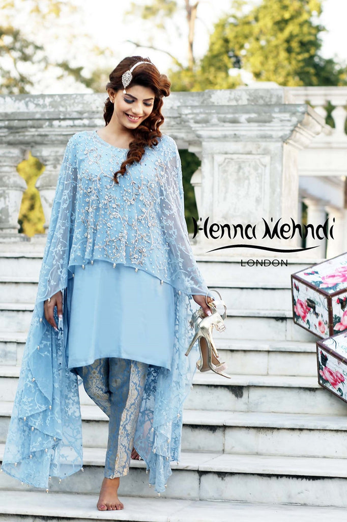 Blue Net Embroidered Cape Outfit - Henna Mehndi