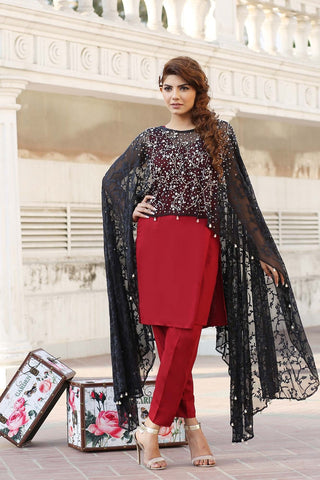 Black Net Embroidered Cape Outfit