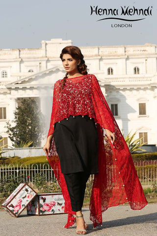 Red Net Embroidered Cape Outfit