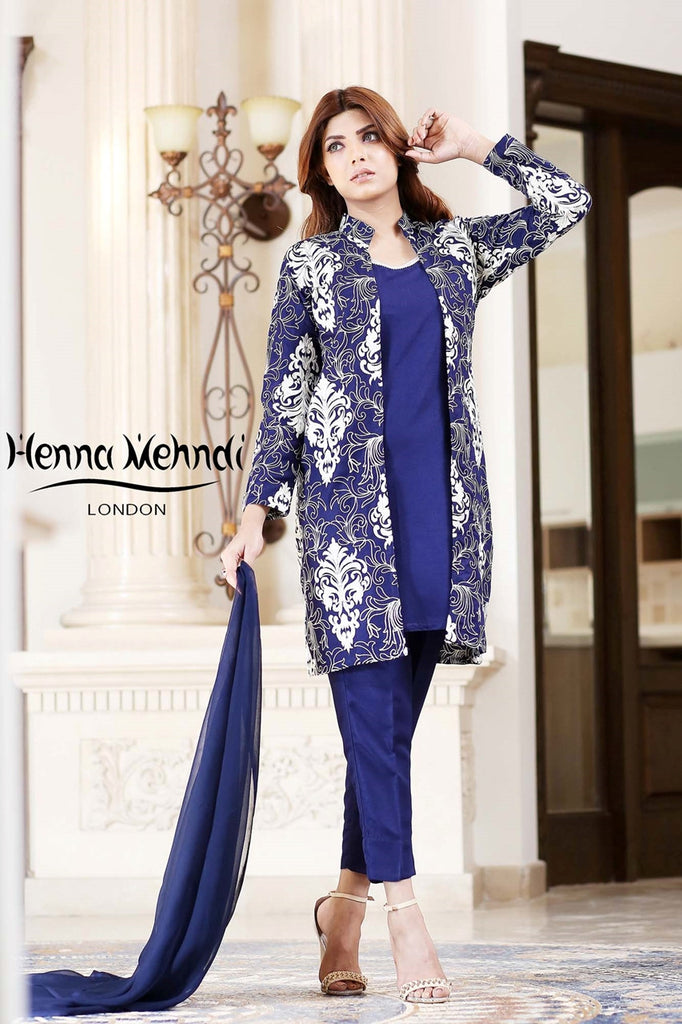 Navy Embroidered Jacket Outfit - Henna Mehndi