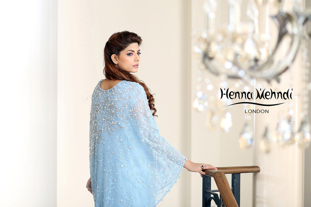 Blue Embroidered Cape Outfit - Henna Mehndi