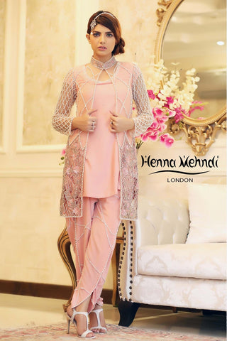 Tea Pink Pearl and Diamante Embroidered Outfit