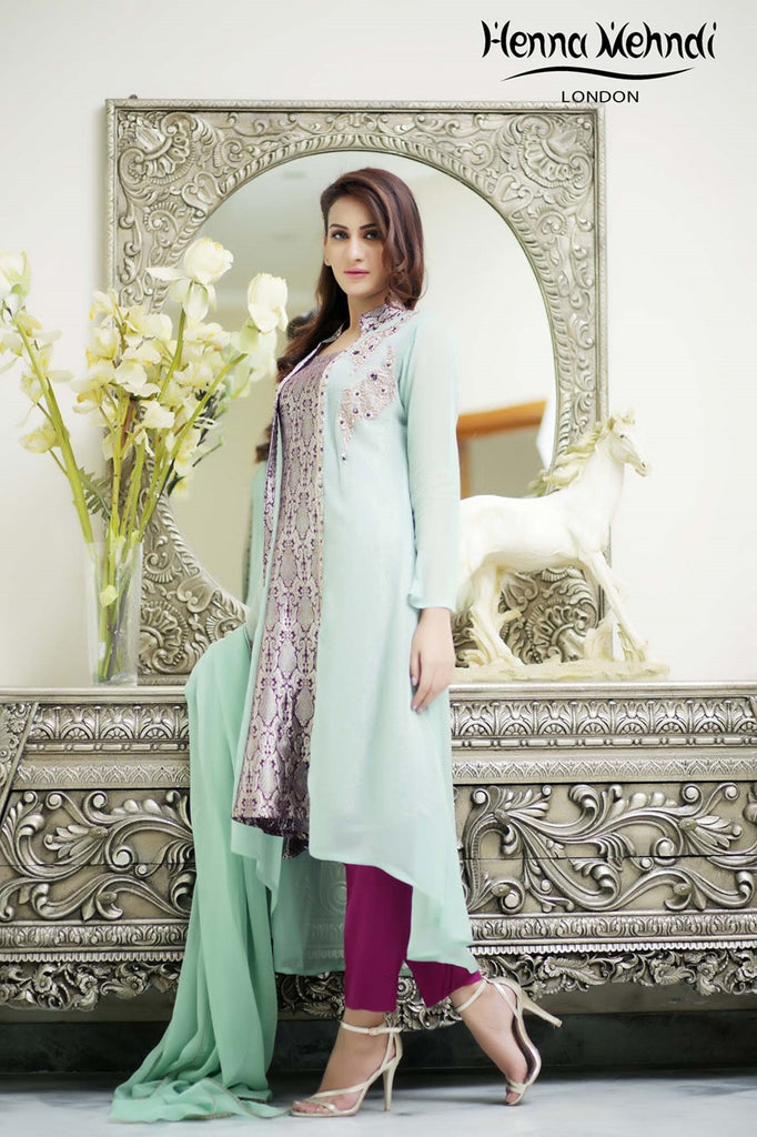Pistachio Diamante Embroidered Gown Outfit