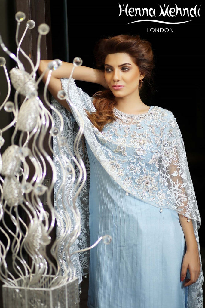 Ice Blue Net Embroidered Cape Outfit - Henna Mehndi