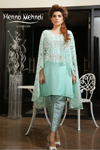 Mint Net Embroidered Cape Outfit