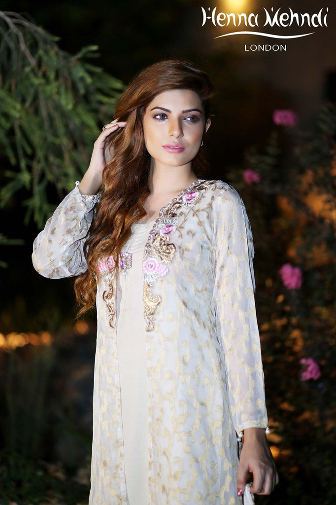 Gold Diamante Embroidered Jacket Outfit - Henna Mehndi