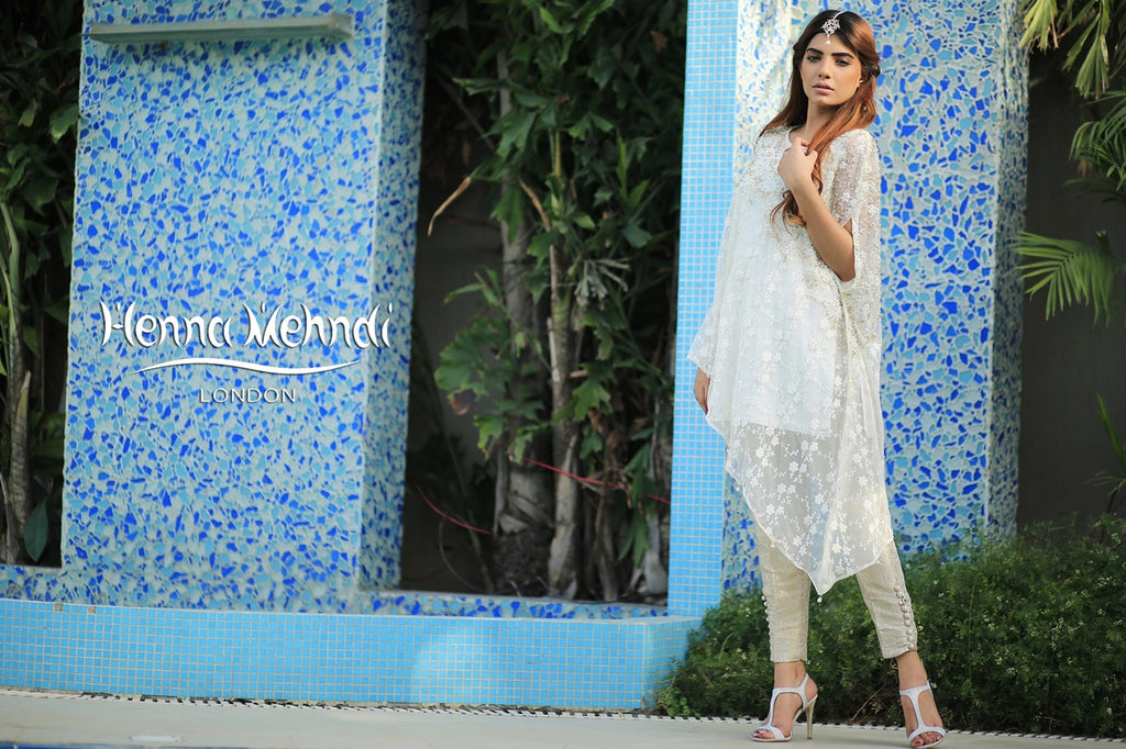 Mint Embroidered Cape Outfit - Henna Mehndi