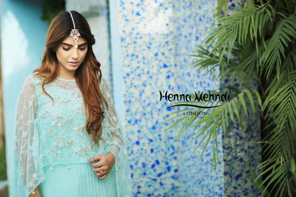 Mint Net Embroidered Cape Outfit - Henna Mehndi