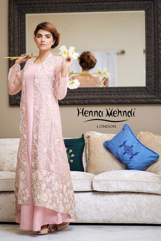 Tea Pink Embroidered Gown Outfit