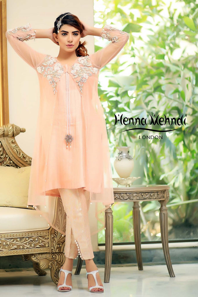 Pink Embroidered Jacket Outfit - Henna Mehndi