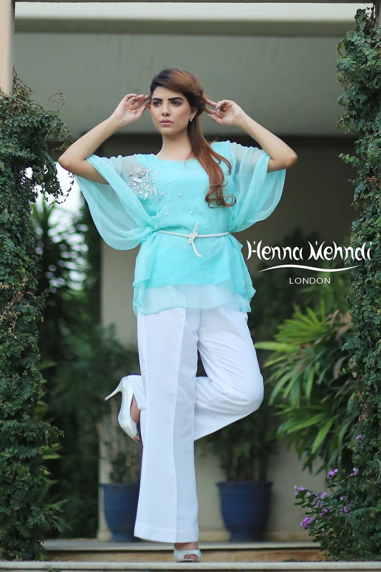 Mint Embroidered Poncho Outfit