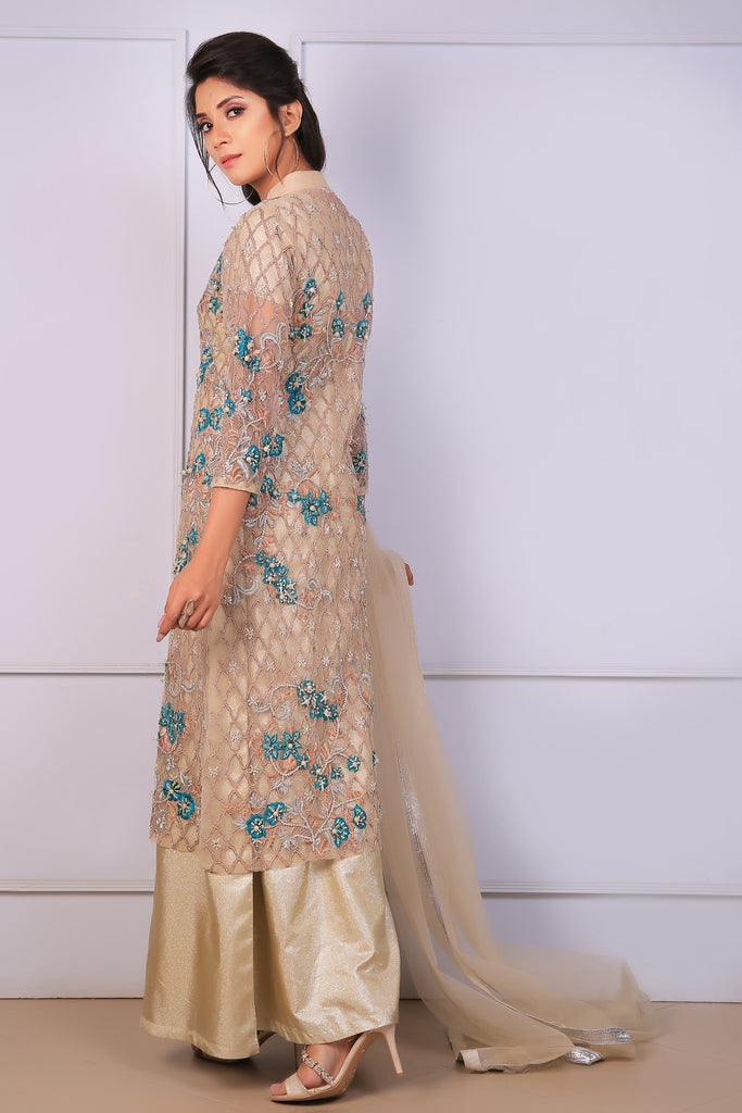 Gold Net Diamante Embroidered Gown Outfit - Henna Mehndi