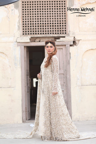 Ivory Diamanté & Pearl Embroidered Bridal Gown Outfit