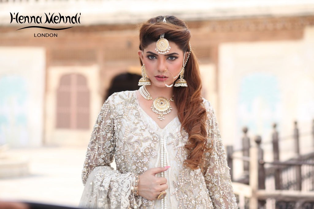 Ivory Diamante & Pearl Embroidered Bridal Gown Outfit