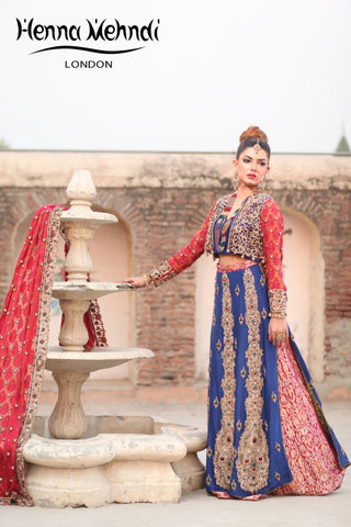 Navy and Red Diamanté Embroidered Bridal Lehnga
