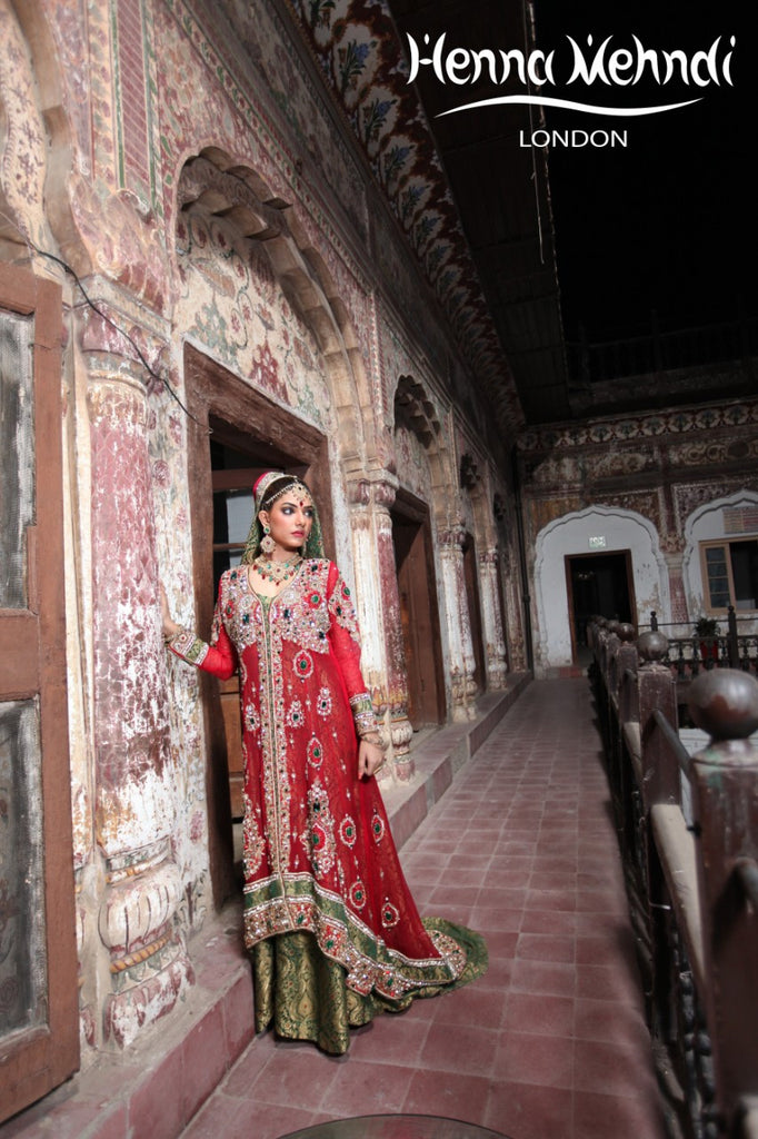 Red And Green Diamante Embroidered Bridal Outfit - Henna Mehndi