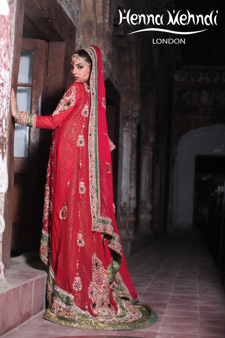 Red And Green Diamante Embroidered Bridal Outfit