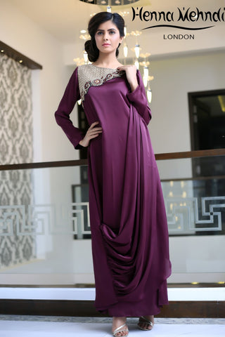 Purple Silk Embroidered Gown