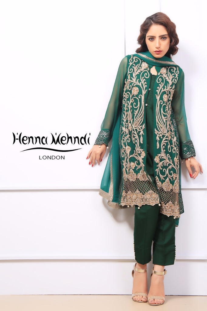Emerald Green Diamante Embroidered Jacket Outfit - Henna Mehndi