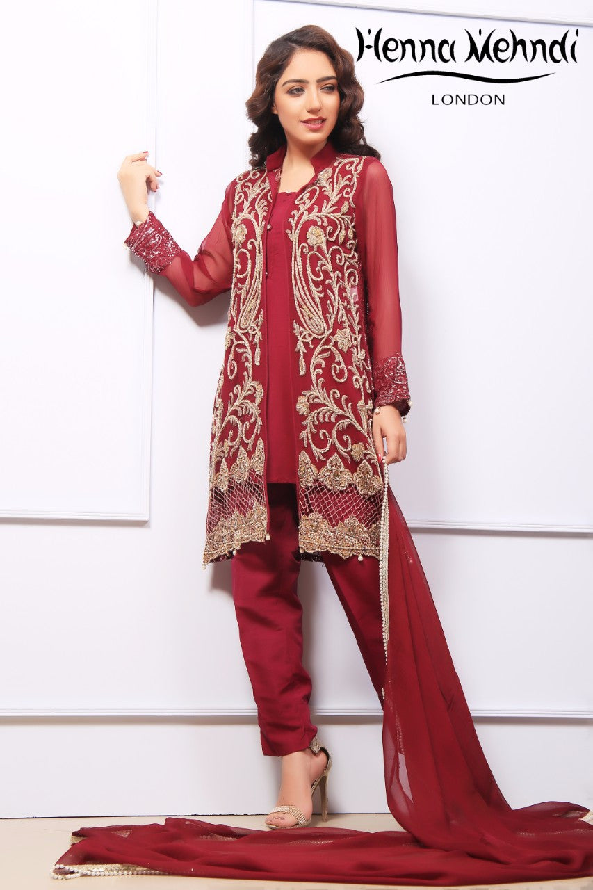Plum Diamante Embroidered Jacket Outfit
