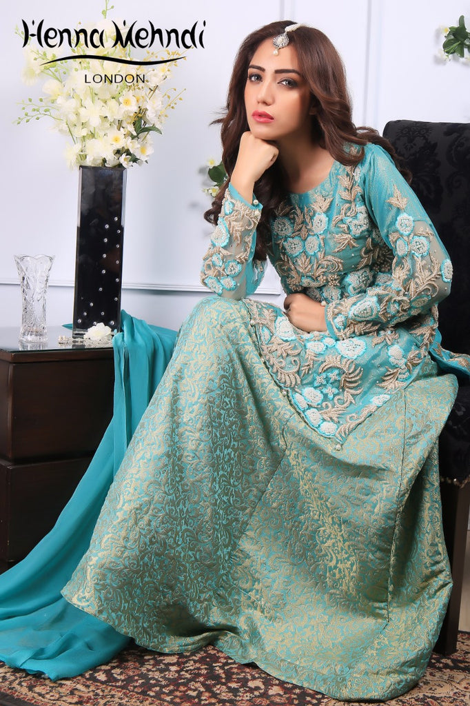 Turquoise Net Pear Embroidered Outfit - Henna Mehndi