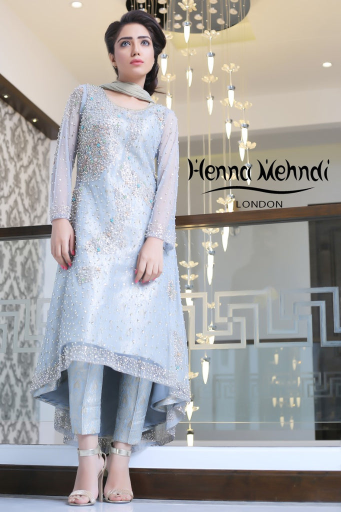 Ice Blue Net Pearl And Sequinned Embroidered Outfit - Henna Mehndi