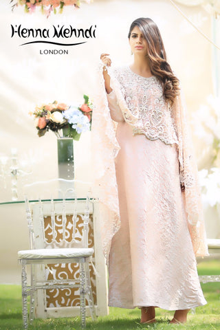 Pink Net Embroidered Cape Outfit