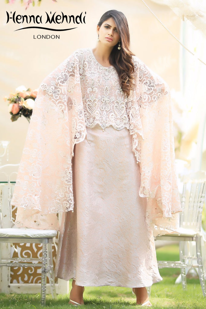 Pink Net Embroidered Cape Outfit - Henna Mehndi