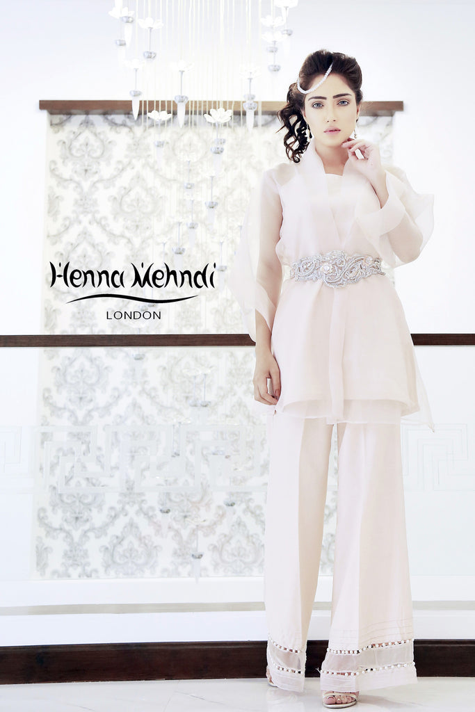 Nude Pink Wrap Over Jacket Outfit - Henna Mehndi