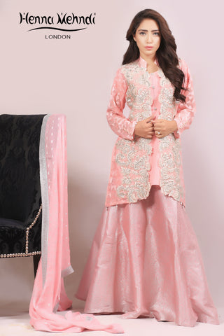 Pink Pearl & Diamante Embroidered Jacket Outfit