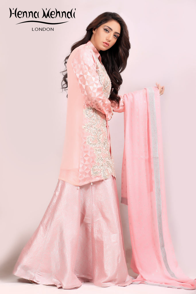 Pink Pearl & Diamante Embroidered Jacket Outfit - Henna Mehndi