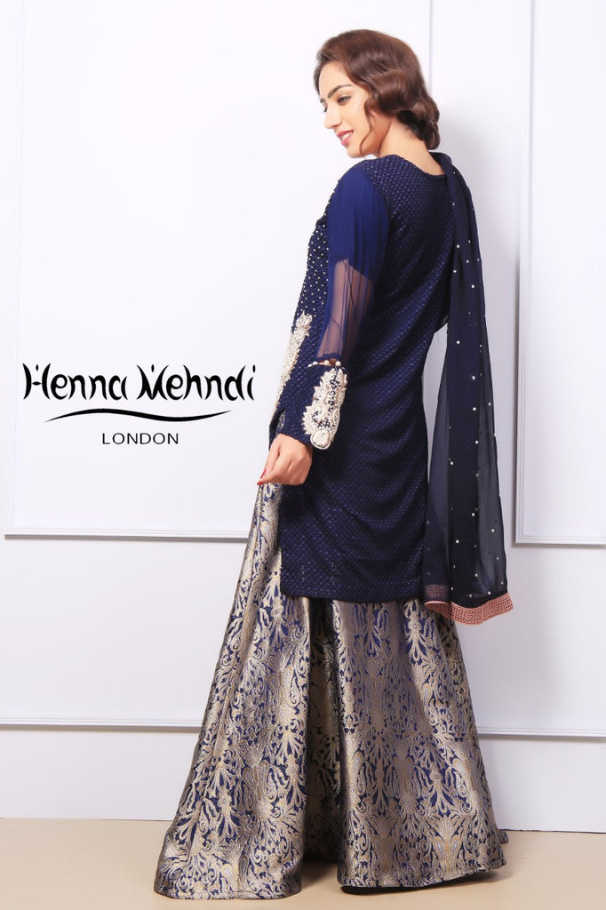 Navy Pearl & Diamante Embroidered Outfit - Henna Mehndi