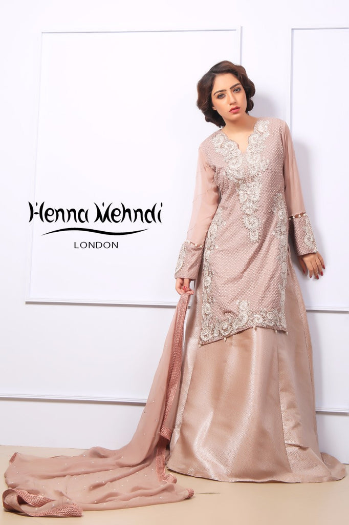 Tea Pink Pearl & Diamante Embroidered Outfit - Henna Mehndi