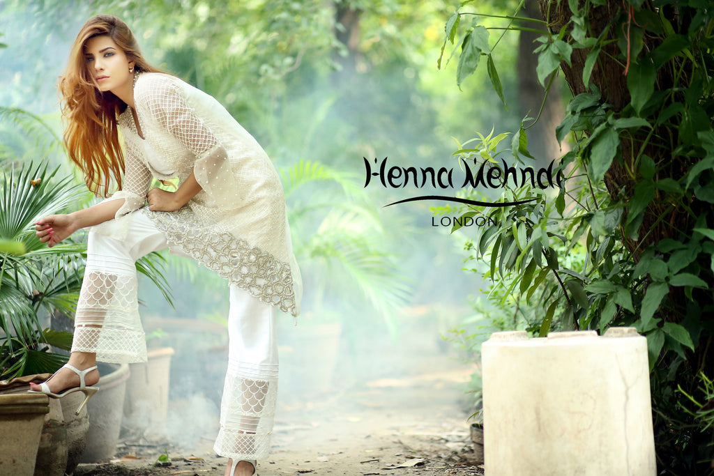 White Pearl And Diamante Embroidered Outfit - Henna Mehndi
