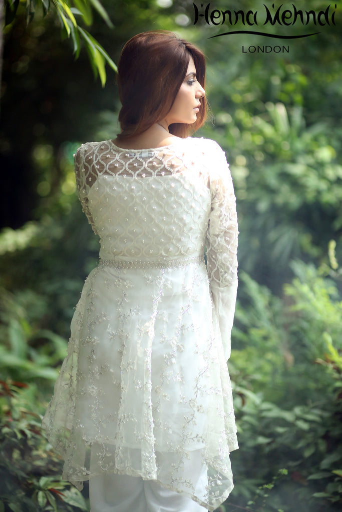 White Pearl And Diamante Embroidered Outfit