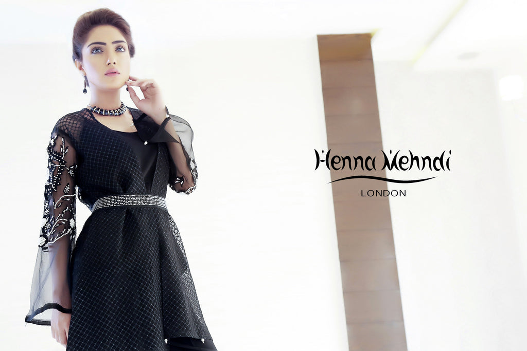Black Wrap Over Embroidered Jacket Outfit - Henna Mehndi