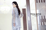 Grey Wrap Over Embroidered Jacket Outfit - Henna Mehndi
