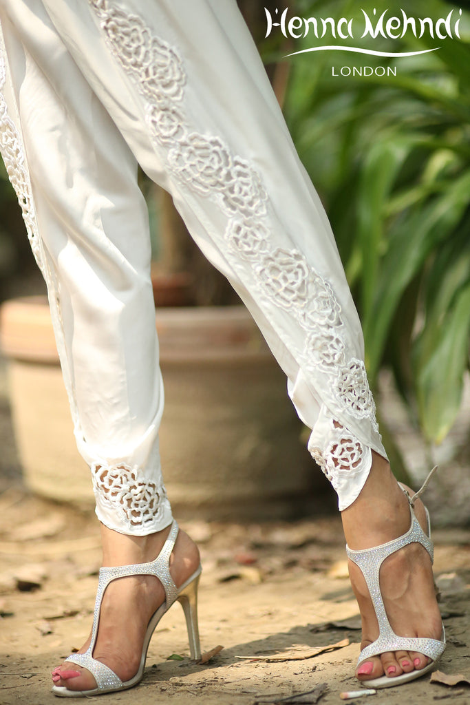 White Embroidered Tulip Shalwaar - Henna Mehndi