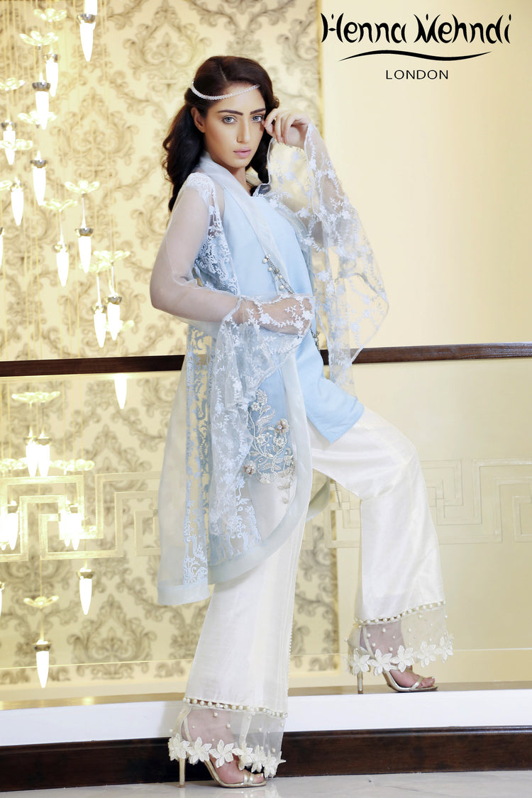 Ice Blue Embroidered Jacket Outfit